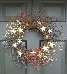 Memorial Day Wreath, Fourth of July Wreath, Americana Wreath, Patriotic Wreath, Wreath Stars and Stripes Patriotic Wreath, Patriotic Crafts, July Crafts, 4th Of July Wreath, Wreath Crafts, Diy Wreath, Door Wreaths, Memorial Day Wreaths, Country Wreaths