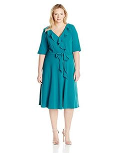 Maya Brooke Womens PlusSize Elbow Sleeve Ruffle Dress with Tie Teal 18W * Visit the image link more details.