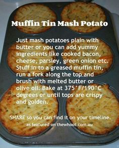 Muffin tin mash potato