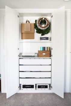 I'm sharing a tour of my IKEA PAX office organization! This system has added so much helpful storage to my home office space, and keeping it organized is now a breeze! Wardrobe organization IKEA PAX Office Organization: A Tour Home Office Closet, Home Office Storage, Home Office Organization, Home Office Space, Home Office Design, Organized Office, Organization Ideas, Kitchen Storage, Organizing
