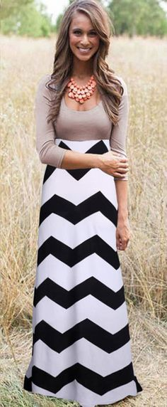 Black-White Wave Striped Pleated Scoop Neck 3/4 Sleeve Floor Length Dress - Maxi Dresses - Dresses