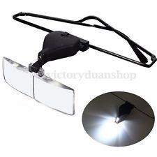 LED Loupe Lunette Lamp Clip 3 Lens 1.5x 2.5x 3.5x Magnifier Pr Lecteur Horloger