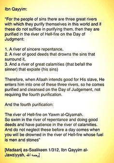 """• """"For the people of sins there are three great rivers with which they purify themselves in this world..."""