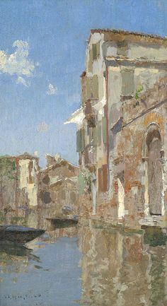 """""""Venice,"""" Willard Leroy Metcalf, oil on canvas, 11 x 6 1/4"""", private collection."""