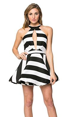 c3e8994ca1 Haltered Keyhole Skater Dress in Black and White     You can get more  details