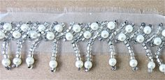 """Trim Fringe with White pearls and silver Beads on Netting 1.5"""""""