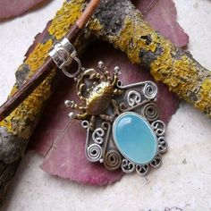Chalcedon & Krabbe, teilvergoldet, Anhänger, 925 Sterling Silber in Uhren & Schmuck, Echtschmuck, Halsketten & Anhänger   eBay!