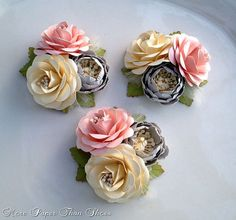 Wedding Corsages - Paper Flowers - Pink and Gray - Set of 3 - Made To Order, $30.00