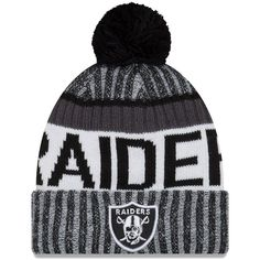 Oakland Raiders New Era 2017 Sideline Cold Weather Sport Knit Hat -  Black White   7fcc5cd270f