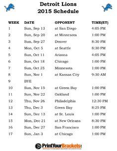 Printable Detroit Lions Schedule - 2015 Football Season
