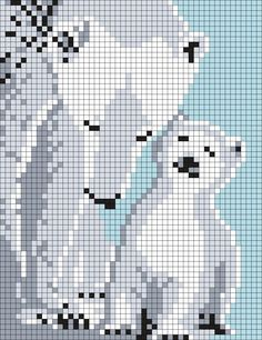 Mom_and_Baby_Polar_Bears_ (sq) por Maninthebook en Kandi Patterns Pony Bead Patterns, Kandi Patterns, Perler Patterns, Beading Patterns, Embroidery Patterns, C2c Crochet, Tapestry Crochet, Crochet Chart, Cross Stitch Charts