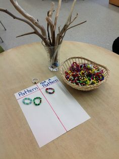Beads arranged in patterns and randomly. Children sort: pattern / not pattern Patterning Kindergarten, Kindergarten Math Activities, Kindergarten Classroom, Fun Math, Preschool Ideas, Classroom Ideas, Early Years Maths, Early Math, Early Learning