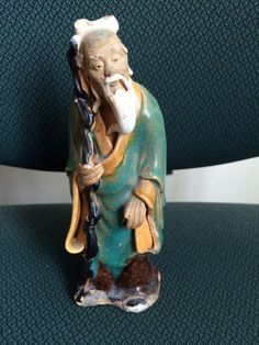 Vintage Chinese Mud Man Figurine Marked China, Chinese Mud Man On Cain by PaintedLadyAntiques on Etsy
