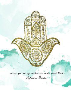 Items similar to Hamsa - Art Print, Gandhi on Etsy Vishuddha Chakra, Hand Der Fatima, Metallic Prints, Yoga Quotes, Hamsa Hand, Yoga Meditation, Buddhism, Peace And Love, Artsy
