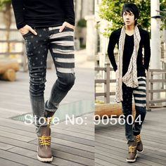 De 2015 de Moda de Nova homens do desenhista de lazer à moda magro magro Lavar Calças Jeans Masculino Casual denim calças compridas Macacões