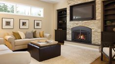 gas fireplace - family room - love this - insert in the brick for the TV too. Family Room Design, Artificial Fireplace, Tv Above Fireplace, Simple Living Room, Contemporary Fireplace, Room Design, Cheap Fireplaces, Fireplace, Small Fireplace