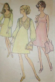 Vintage 1960s Simplicity 8546 Empire Waisted Dress & Vest Pattern 36B sz 16 Unct