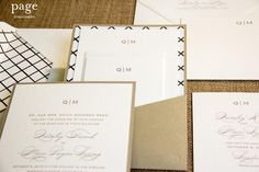 Wedding Invitation Suite in Gold Pocketcard - Quinley - Page Stationery