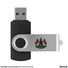 Lesotho coat of arms swivel USB 2.0 flash drive