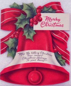 #1379 40s Festive Stand Up Bell-Vintage Diecut Christmas Greeting Card