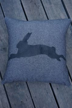 """NEW! Handmade + individually hand painted by Claire Webber, Hobart, Tasmania.  36cm """"Run, Rabbit, Run!"""" 100% charcoal cotton.  For more info email: webberclaire1@gmail.co"""