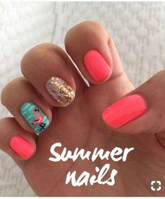 Summer nails - coral and teal with flamingo coral toe nails, glitter toe nails, Colorful Nail Designs, Nail Art Designs, Coral Nail Designs, Beachy Nail Designs, Uñas Color Coral, Beach Themed Nails, Beach Vacation Nails, Flamingo Nails, Teal Nails
