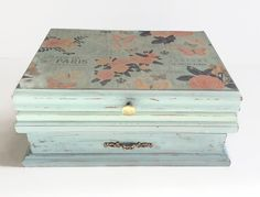 Jewelry Box Shabby Chic Pale Blue And Pink by LetaPearlEmporium
