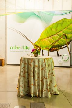 Tropical colors add the finishing touch to a kiosk table. Academy Of Sciences, Tropical Colors, Color Of Life, Kiosk, Cocktail, It Is Finished, Touch, Floral, Table