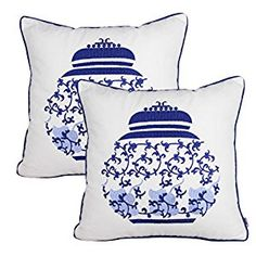 """From Amazon """"Queenie-Wong"""" $20 Amazon.com: Queenie® - 2 Pcs Traditional Chinese Blue & White Porcelain Series 100% Cotton Embroidered Decorative Pillowcase Cushion Cover Throw Pillow Case 18 X 18 Inch 45 X 45 Cm (2, Pot 2): Home & Kitchen"""