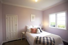Home Staging by Places & Graces. Bedroom. Purple, Mauve. Walls, Resene. 'Girl' by Sarah McNeil. Art prints, endemicworld.com. Linen et all, Country Road and Citta