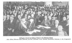 """Spectators crowd the Delaware House for a debate on ratification of the 19th amendment. The suffragists hoped Delaware would be the deciding state in the ratification of the 19th amendment but the bill never passed the Delaware House. Photo from """"The Suffragist"""" May 1920."""