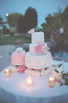 "A GORGEOUS cake from ""A Romantic Midsummer's Night Dream Wedding"""