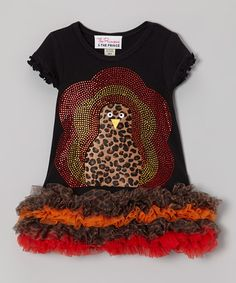 Take a look at this Black Leopard Print Turkey Ruffle Dress - Infant, Toddler & Girls by The Princess and the Prince on #zulily today!