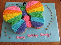 """- 10/13/2013 Made with two 8"""" rounds and two 6""""rounds for wings and cupcakes for body"""