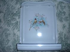 Antique French graniteware utensil tray with pretty birds and flowers.  www.facebook.com/FrenchAntiques4u