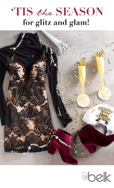 Ring in the New Year in style with the perfect party outfit. Pro tip: the more glitter the better. Make a lasting impression by mixing classic golds and blacks with unconventional shades like  merlot. Dance the night away in the perfect sequin party dress or raise a toast in a lace cocktail number that puts all eyes on you. And don't forget glam accessories like velvet heels to tie it all together. Shop women's party dresses and more NYE looks in-store and at belk.com.