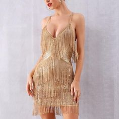 Fashion Strap Sequin Layered Fringe Dress