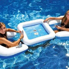 Game Station Floating Card Game Set by Swimline. Comes with waterproof cards, table and 2 sling chairs. Enjoy hours of card game fun while staying cool in your pool! Lounge Design, Gaming Station, My Pool, Pool Fun, Pool Accessories, Pool Floats, Pool Toys, Water Toys, Water Play