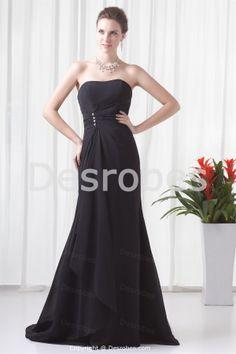 Robe de soirée noire en mousseline de soie laçage arrière sans bretelles -Robe de cérémonie-Robe de soirée