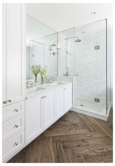 Wood Tile Bathroom Floor, Wood Tile Floors, White Vanity Bathroom, Bathroom Layout, Bathroom Interior, Small Bathroom, Bathroom Ideas, Laminate Flooring, Bathroom Inspiration
