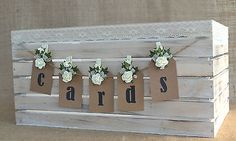 Pretty shabby chic wooden wedding card crate post box lace hessian roses bunting