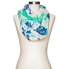Women's Floral Infinity Scarf Blue and Green - Merona