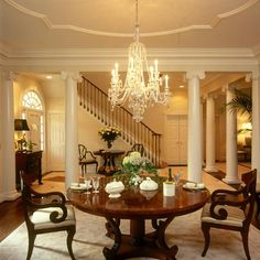 Classical dining room with beautiful chairs and dining table
