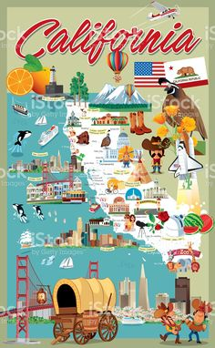 Cartoon map of California royalty-free cartoon map of california stock vector art & more images of california Images Of California, California Dreamin', Retro Cartoons, Free Cartoons, Voyage Usa, San Francisco, San Diego, Road Trip, Parcs