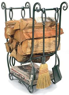 The Country Hearth Wood Holder and fireplace tool set does it all. Store your wood, newspaper, kindling and hearth tools on one beautiful wrought iron frame. Indoor Firewood Rack, Firewood Storage, Storage Baskets, Firewood Stand, Storage Ideas, Fireplace Logs, Fireplace Tool Set, Bedroom Fireplace, Reforma Exterior