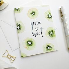 Watercolor Thank You Card Watercolor Greeting Card Youre So Sweet Card Hand-Painted Cards Kiwi Notecards Watercolor Notecards Watercolor Lettering, Watercolor Cards, Hand Lettering, Watercolor Paintings Tumblr, Watercolour, Watercolor Fruit, Watercolor Fashion, Fruit Illustration, Paint Cards