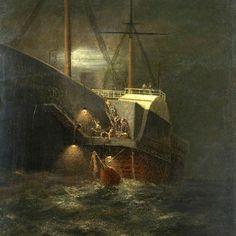 Great Eastern laying cable at night Nautical Art, Navy Ships, Ship Art, Model Ships, Titanic, Great Britain, Art Boards, Sailing Ships, Boats