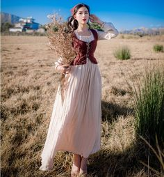 Cowboy class Original retro vest two-piece cotton and linen dress slim long vintage medieval dress Renaissance princess dress Renaissance Dresses, Medieval Dress, Old Fashion Dresses, Fashion Outfits, Country Dresses, Fantasy Dress, French Country Style, Looks Vintage, Vintage Style