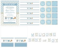 Free Printables for boy baby shower: Invitations, - Free Printables for boy baby shower: Invitations, food cards, cupcake toppers or favor tags, water bottle labels and a party banner.  Repinly Kids Popular Pins @Olivia Watson