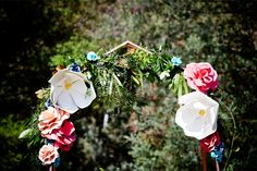 LETTUCE & CO - STYLE. EAT. PLAY 'viv + lachy - colourful modern art deco'. outdoor wedding @ collingwood children's farm. ceremony arbour. giant paper flowers. copper arch. concept, design and wedding styling by lettuce & co